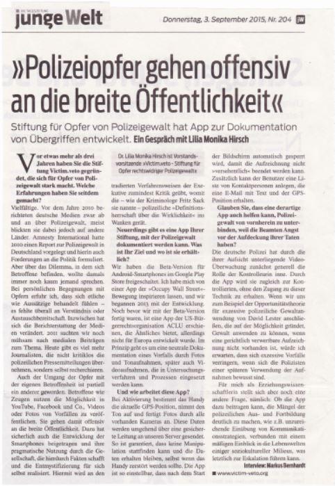 Bild - jungeWelt-Interview vom 03.09.2015 mit Dr. Lilia Monika Hirsch